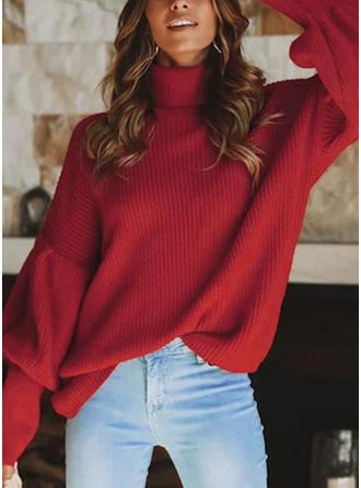 Einfarbig Gerippt Rollkragen Pullover