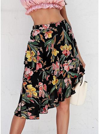 Polyester Drucken Blumen Knielänge A-Linie Röcke