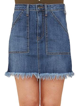 Baumwollstoff Einfarbig Über dem Knie Demin Röcke