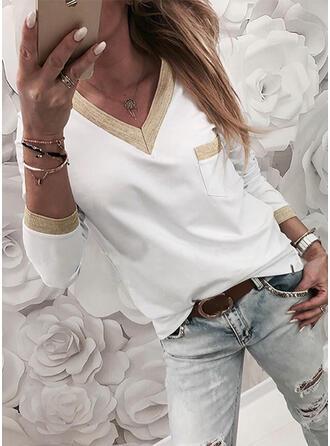 Farbblock V-Ausschnitt Lange Ärmel T-Shirts