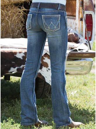 Bestickt Shirred Übergröße Elegant Jahrgang Denim Jeans