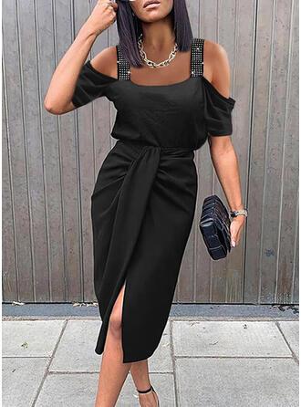 Solid Sequins Short Sleeves Cold Shoulder Sleeve Sheath Knee Length Little Black/Elegant Dresses