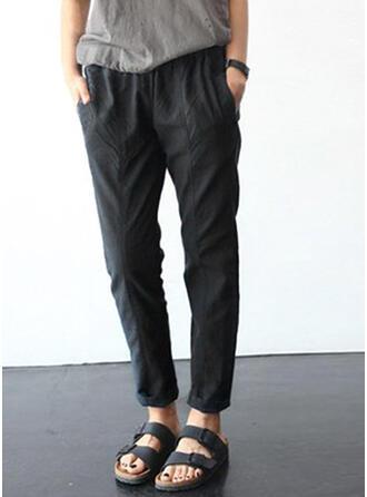 Einfarbig Lange Lässige Kleidung Hosen
