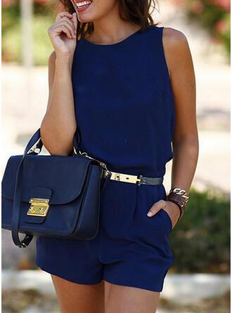 Einfarbig Rundhalsausschnitt Ärmellos Lässige Kleidung Elegant Strampler