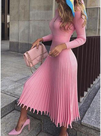 Einfarbig Lange Ärmel A-Linien Pullover/Skater Freizeit/Elegant Midi Kleider
