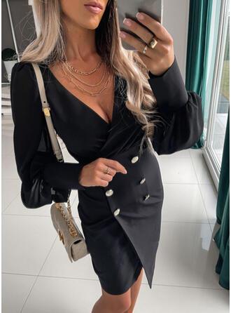 Solid Long Sleeves Lantern Sleeve Bodycon Above Knee Little Black/Elegant Dresses