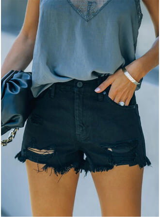 Solid Cotton Above Knee Casual Sexy Plus Size Pocket Ripped Button Pants Shorts Denim & Jeans