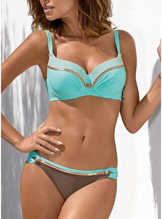 Einfarbig Niedrig Tailliert Träger V-Ausschnitt Sexy Frisch Attraktiv Bikinis Bademode