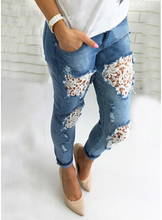 Solid Lace Long Casual Jacquard Pocket Hollow Out Shirred Ripped Pants Denim & Jeans