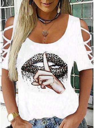 Leopard Print Cold Shoulder 1/2 Sleeves T-shirts
