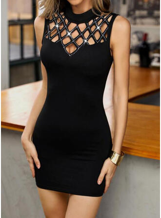 Solid/Hollow-out Sleeveless Bodycon Above Knee Casual Dresses