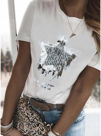 Druck Buchstaben Rundhalsausschnitt Kurze Ärmel T-Shirts