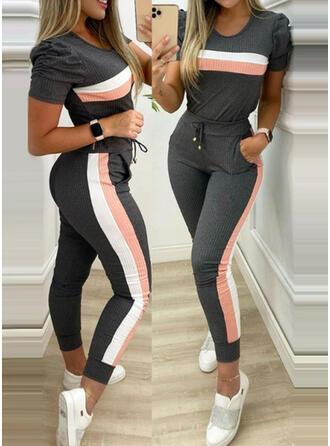 gestreift Übergröße Kordelzug Lässige Kleidung Sportlich Anzüge