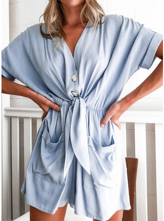 Einfarbig V-Ausschnitt Kurze Ärmel Lässige Kleidung Urlaub Strampler