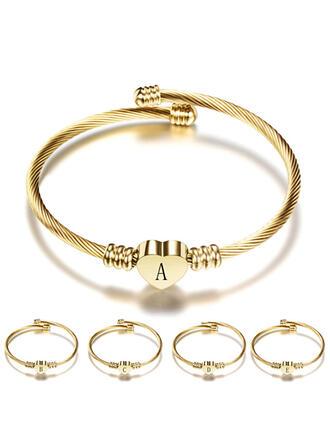 Letter Simple Heart Initial Stainless Steel Women's Bracelets