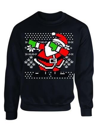Polyester Baumwollmischungen Drucken Weihnachts-Sweatshirt
