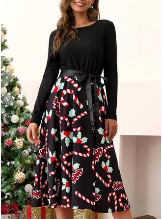 Druck Lange Ärmel A-Linien Vintage/Weihnachten/Freizeit/Elegant Midi Kleider