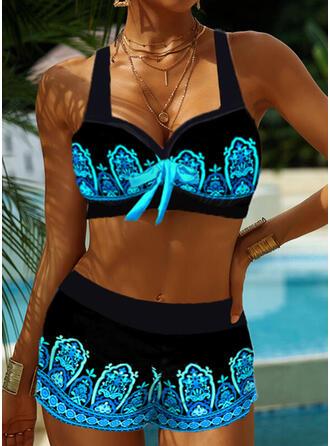 Spleiß Farbe Träger V-Ausschnitt Retro Boho Bikinis Bademode