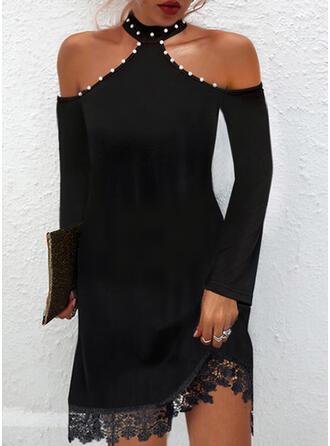 Solid Lace Long Sleeves Cold Shoulder Sleeve Shift Above Knee Little Black/Party/Elegant Dresses