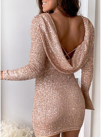 Solid Sequins Long Sleeves Bodycon Above Knee Sexy/Party Dresses