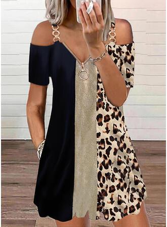 Color Block/Leopard Short Sleeves Cold Shoulder Sleeve Shift Above Knee Casual Tunic Dresses