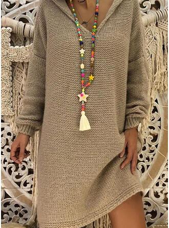Einfarbig Mit Kapuze Freizeit Lang Pulloverkleid