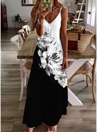 Print/Floral/Color Block Sleeveless A-line Slip/Skater Casual Maxi Dresses