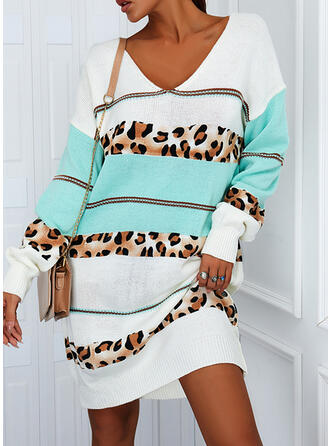 Color Block/Leopard Long Sleeves Dropped Shoulder Shift Knee Length Casual Sweater Dresses