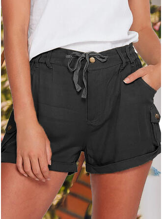 Einfarbig Übergröße Lässige Kleidung Jahrgang Kurze Hose