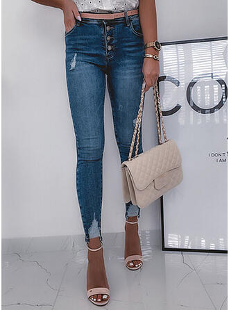 Solid Denim Long Casual Sexy Plus Size Pocket Ripped Button Denim & Jeans
