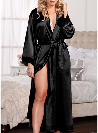 Polyester Lace Plain Long Sleeves V Neck Slip Robe