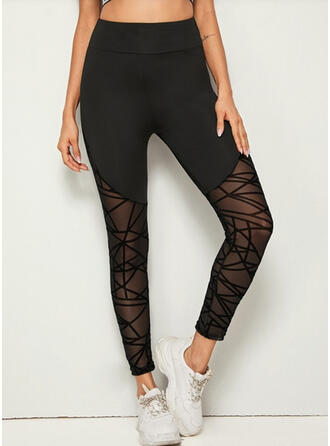 Solid Long Sporty See-through Leggings
