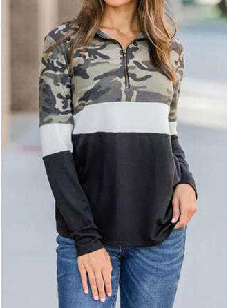 Camouflage Lapel Long Sleeves T-shirts