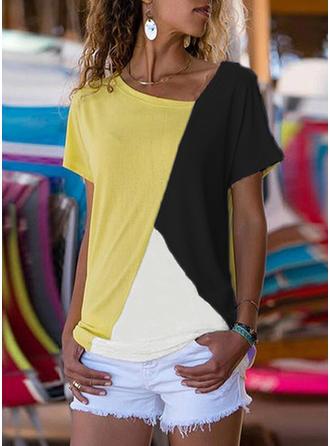 Geblockte Farben V-Ausschnitt Kurze Ärmel Freizeit Stricken T-shirts