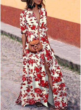 Druck/Blumen 1/2 Ärmel Shift Freizeit Maxi Kleider