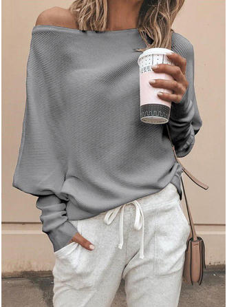 Einfarbig One-Shoulder Freizeit Pullover