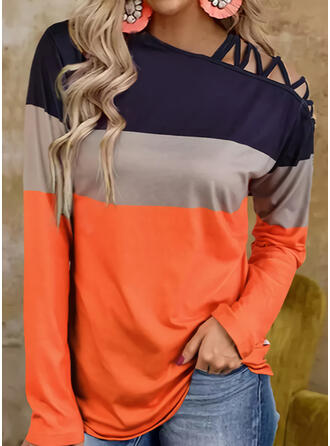 Color Block One Shoulder Long Sleeves Casual Blouses