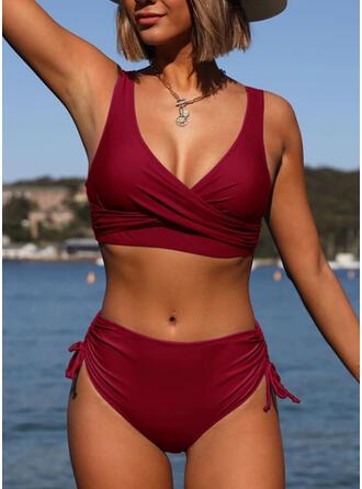 Schnur Rüschen Träger Rundhalsausschnitt Elegant Bikinis Bademode