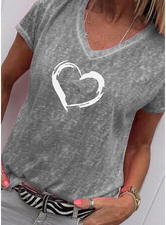 Drucken Herz V-Ausschnitt Kurze Ärmel Freizeit T-shirts