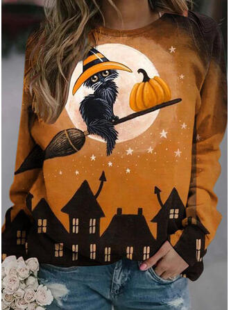 Halloween Print Animal Round Neck Long Sleeves Sweatshirt