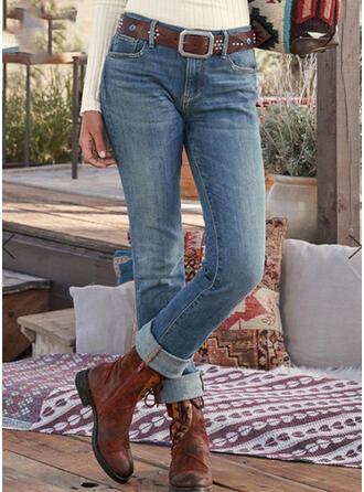 Shirred Übergröße Stammes Jahrgang Denim Jeans