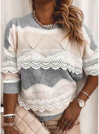Geblockte Farben Spitze Rundhalsausschnitt Freizeit Pullover