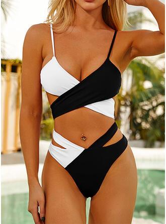 Spleiß Farbe Rüschen Kreuz Tierdruck Träger Neckholder V-Ausschnitt Sexy Vintage Attraktiv Ins Auge Fallend Bikinis Bademode