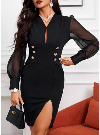 Solid Long Sleeves Bodycon Mini Office/Business Dresses
