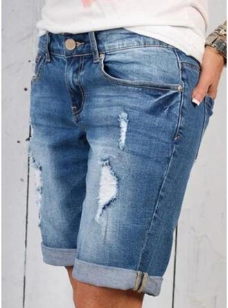 Geometrisch Taschen Shirred Über dem Knie Lässige Kleidung Sportlich Baumwollstoff Kurze Hose Denim Jeans
