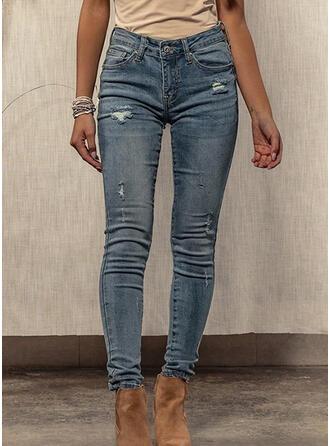 Shirred Zerrissen Sexy Dünn Denim Jeans