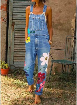 Blumen Druck Träger Ärmellos Lässige Kleidung Baumwollstoff Overall