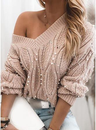 Einfarbig Zopfmuster Perlen V-Ausschnitt Freizeit Pullover