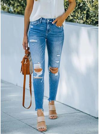 Übergröße Zerrissen Einfarbig Baumwollstoff Denim Jeans