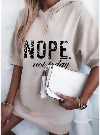 Print/Letter 1/2 Sleeves Dropped Shoulder Shift Above Knee Casual Sweatshirt Dresses